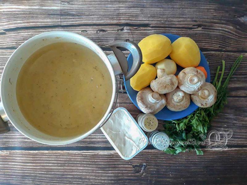 Сырный суп-пюре с шампиньонами - ингредиенты
