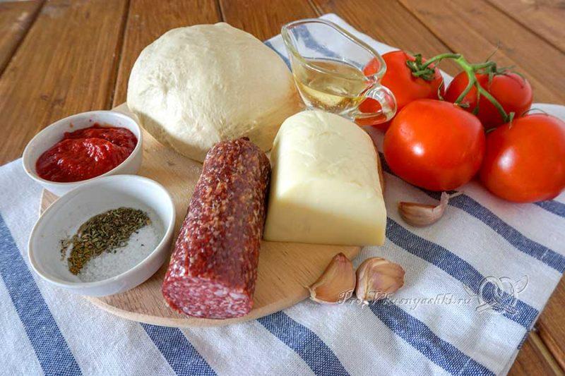 Пицца с салями и помидорами - ингредиенты