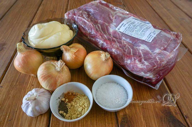 Шашлык из свинины в маринаде с майонезом - ингредиенты