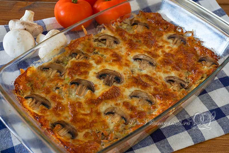 Запеканка из кабачков с грибами в духовке - готовая запеканка