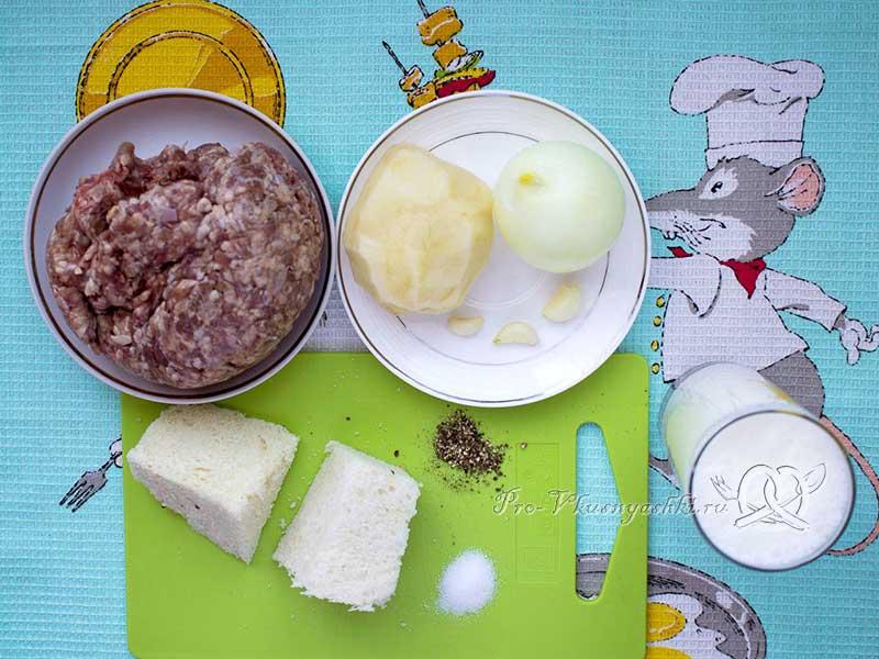 Домашние котлеты из фарша без яиц - ингредиенты