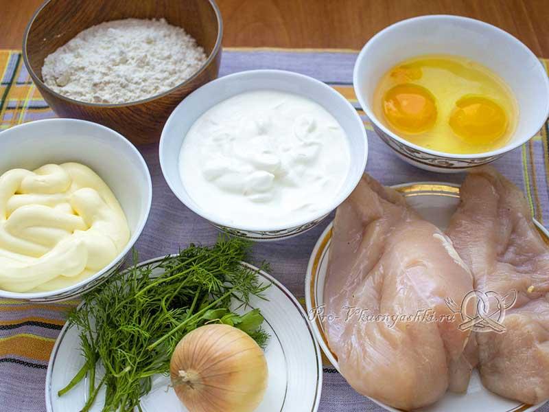Пирог с куриным филе в духовке - ингредиенты